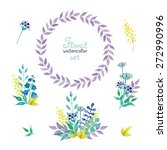 set of floral watercolor... | Shutterstock .eps vector #272990996