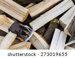 axe on freshly chopped logs.... | Shutterstock . vector #273019655
