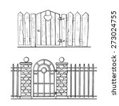 Hand Drawn Fences With Entranc...