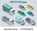 Set Of Isometric Cars. Vector...