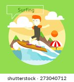 man surfer on blue ocean wave... | Shutterstock .eps vector #273040712
