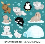 Stock vector arctic animal vector set 273042422
