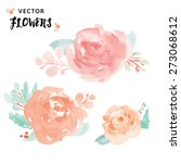 watercolor peony vector flowers.... | Shutterstock .eps vector #273068612