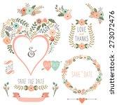 vintage floral heart shape    Shutterstock .eps vector #273072476
