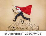 manager with coat of superman.... | Shutterstock . vector #273079478