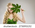 Woman Face And Green Leaf  Hair ...