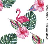 watercolor pink flamingo ... | Shutterstock .eps vector #273097028