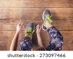 unrecognizable young runner... | Shutterstock . vector #273097466
