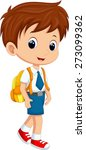 cute boy in uniform going to... | Shutterstock .eps vector #273099362