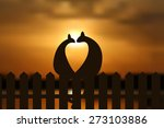 cats in love silhouette on the...