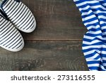 shoes and striped cloth on old... | Shutterstock . vector #273116555