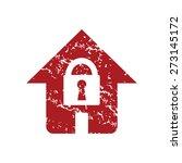 red grunge lock house logo on a ... | Shutterstock .eps vector #273145172