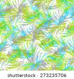 seamless watercolor palm leaves ... | Shutterstock . vector #273235706