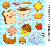 cute kawaii style cartoon foods   Shutterstock .eps vector #273240392