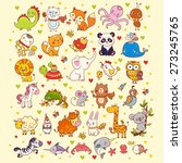 cute vector set of  animals ... | Shutterstock .eps vector #273245765