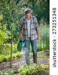 Portrait of a gardener watering his vegetable garden with a watering can - stock photo