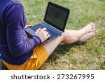 young woman using laptop in the ... | Shutterstock . vector #273267995