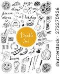 big doodle set   pizza | Shutterstock .eps vector #273270926