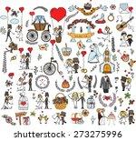 doodle wedding set for... | Shutterstock .eps vector #273275996