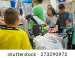 cash desk with cashier serving... | Shutterstock . vector #273290972
