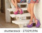 Beautiful Women Girls On Stair...