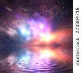 Ocean Under Galaxy  Space Sky....