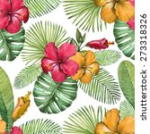 watercolor seamless tropical... | Shutterstock . vector #273318326