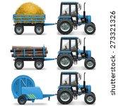 Vector Farm Tractor With Baler...