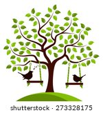 vector tree with swings and... | Shutterstock .eps vector #273328175