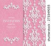 vector pink floral 3d wedding... | Shutterstock .eps vector #273349055