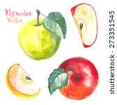 apples painted with watercolors ... | Shutterstock .eps vector #273351545