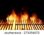 Empty Flaming Charcoal Grill ...