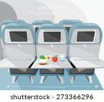 airplane seats with opened... | Shutterstock .eps vector #273366296