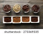 coffee beans in saucers on... | Shutterstock . vector #273369335