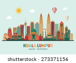 kuala lumpur detailed... | Shutterstock .eps vector #273371156