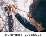 Closeup Of Painter Artist...