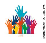 Photo Of Raised Hands. Vector...