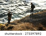 angler  fishermen in cliffs  | Shutterstock . vector #273397892
