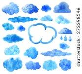 watercolor blue clouds set... | Shutterstock .eps vector #273398546
