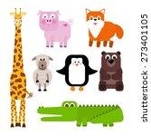 set of cute cartoon animals  ...   Shutterstock .eps vector #273401105