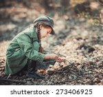 little girl making a bonfire ... | Shutterstock . vector #273406925