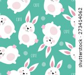 seamless cute bunny pattern... | Shutterstock .eps vector #273414062