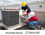 two workers on the roof of a... | Shutterstock . vector #27344149