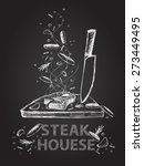 hand drawn steak house quotes... | Shutterstock .eps vector #273449495