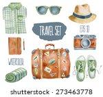 travel set. vector watercolor... | Shutterstock .eps vector #273463778