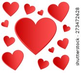 red hearts   seamless love... | Shutterstock .eps vector #273472628