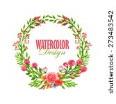 watercolor floral wreath.... | Shutterstock .eps vector #273483542