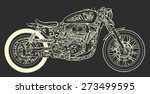 vintage motorcycle hand drawn... | Shutterstock .eps vector #273499595