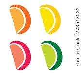 citrus slices sticker set... | Shutterstock .eps vector #273518522