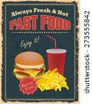 vintage fast food  poster with...   Shutterstock .eps vector #273555842